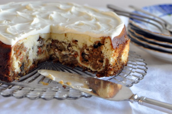 """Carrot Cake and Cheesecake all swirled together to make the ultimate cheesecake"""