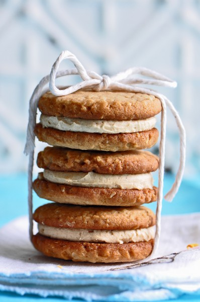 """Crunchy, nutty peanut butter cookies sandwiching a creamy peanut butter filling."""