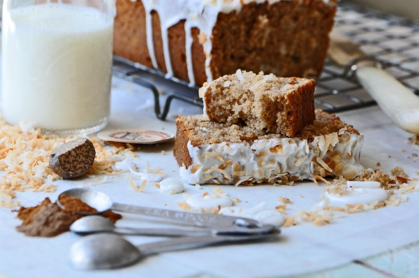 """Subtlly spiced with coconutty goodness all in a simple loaf cake."""