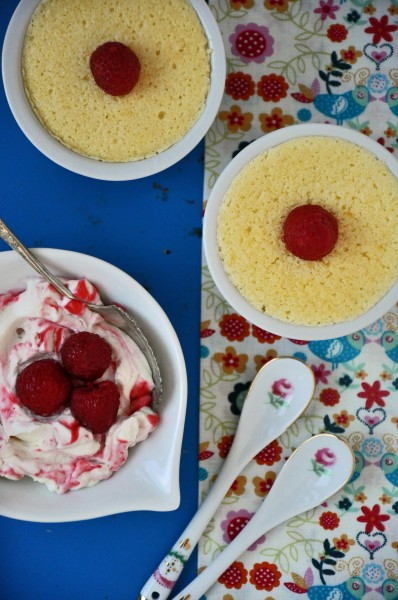 """Light and Airy Lemon Pudding Cakes with Marbled Raspberry Cream"""