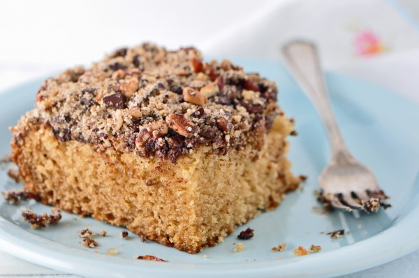"""Moist and buttery cake with Pecans, Chocolate, and Espresso perfectly balanced in a crumb topping"""