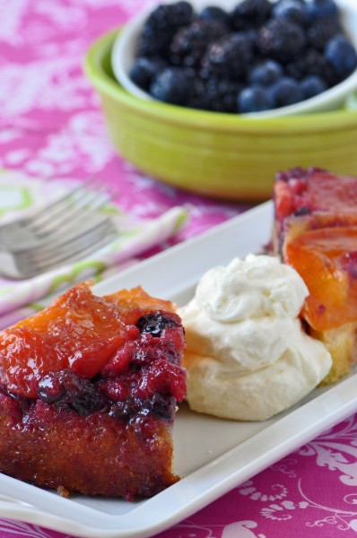 """Apricot-Berry Upside-Down Cake"""