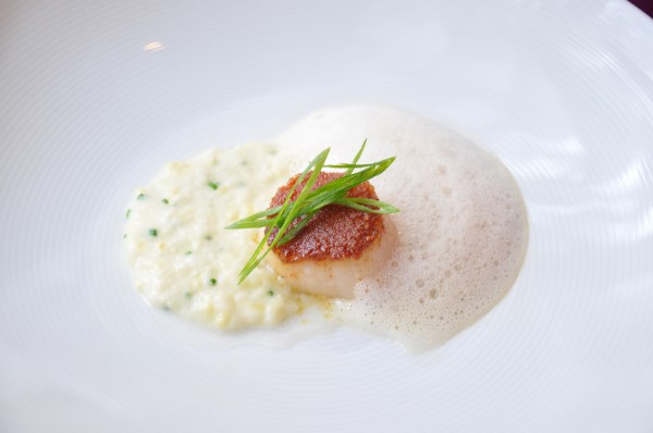 """Chorizo Crusted Scallop with Sweet Corn and Lobster Froth at  Cyrus Restaurant"""