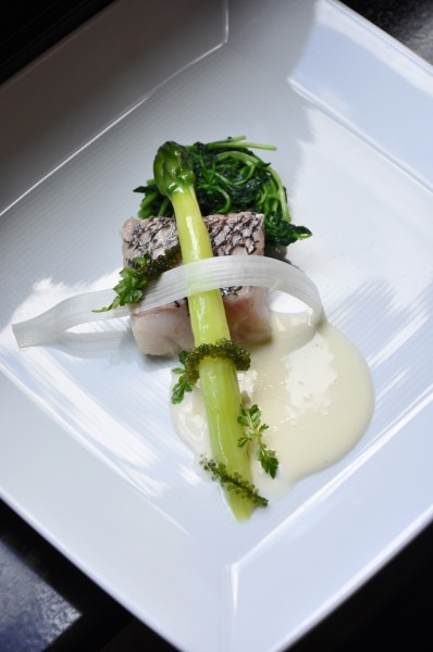 """Black Sea Bass with Pea Sprouts, Asparagus and Lemon Verbena at Cyrus Restaurant"""