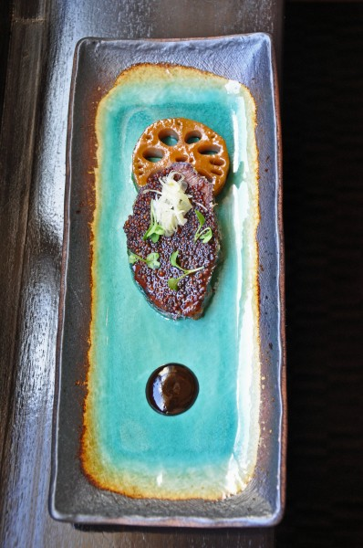 """Seared Beef Cheek with Green and Black Garlic, Lotus Root and Natural Jelly at Cyrus Restaurant"""