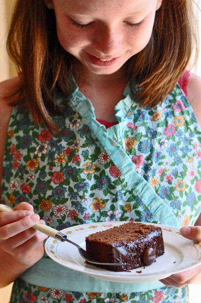 """Baking a chocolate snack cake with niece Chloe"""