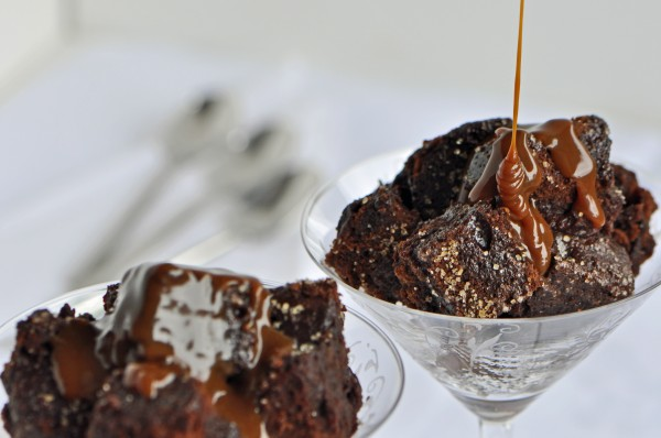 """Dulce de Leche Bourbon Sauce tops servings of Chocolate ""Cake"" Bread Pudding Recipe"""