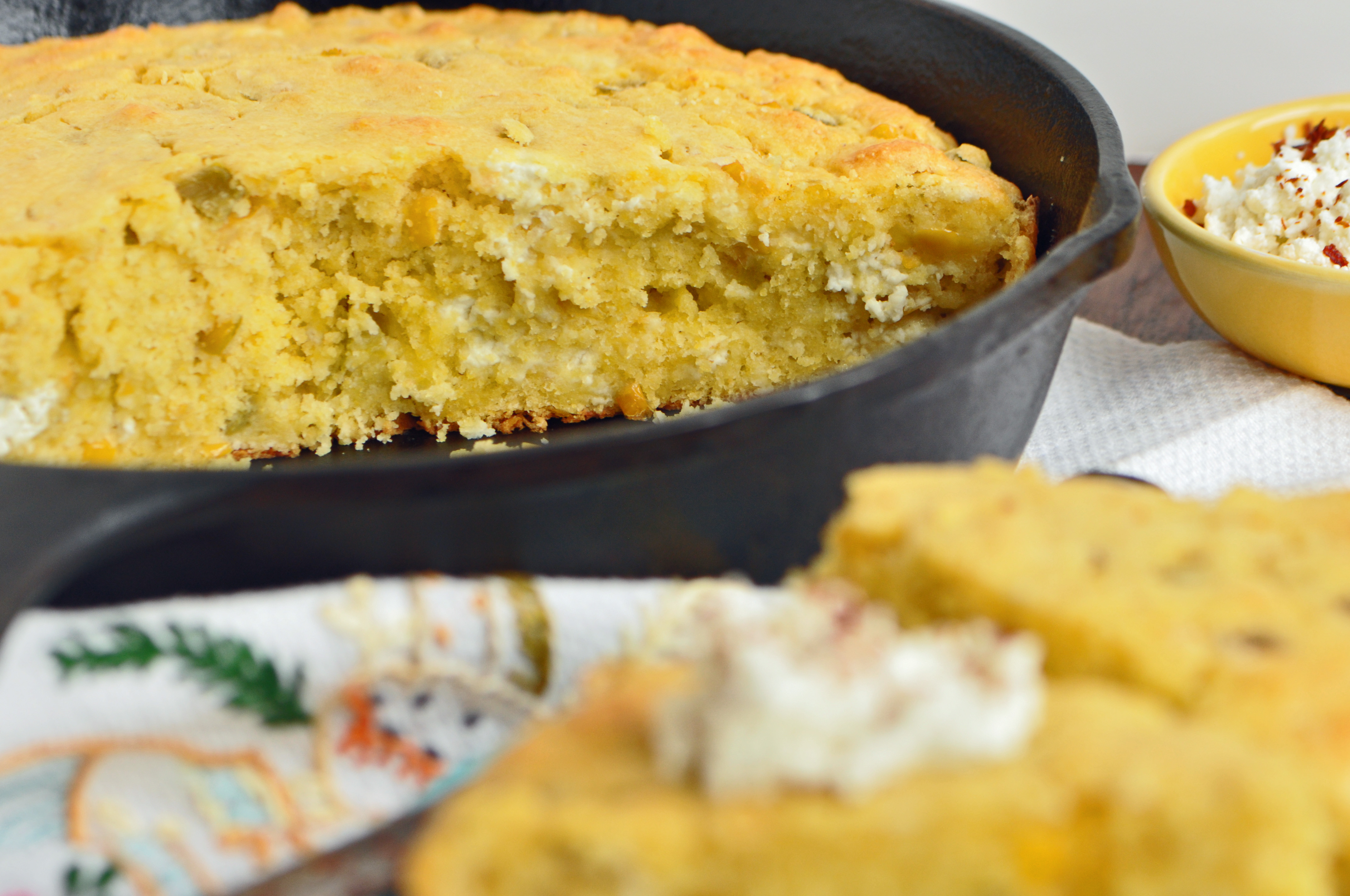 """Cornbread with Goat Cheese and Green Chiles Recipe"""""""