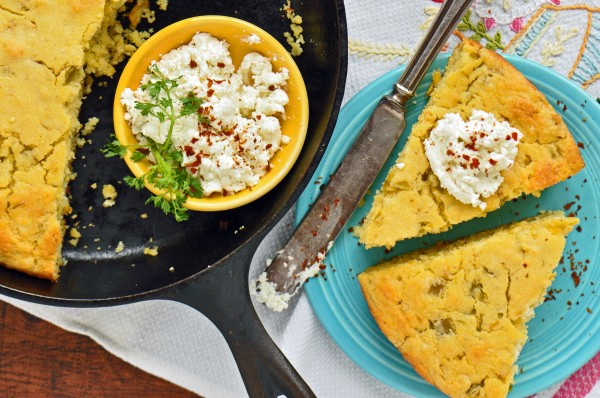 """Cornbread gets a hint of tang from goat cheese and a touch of spiciness from green chiles in this recipe for Cornbread with Goat Cheese and Green Chilies"""