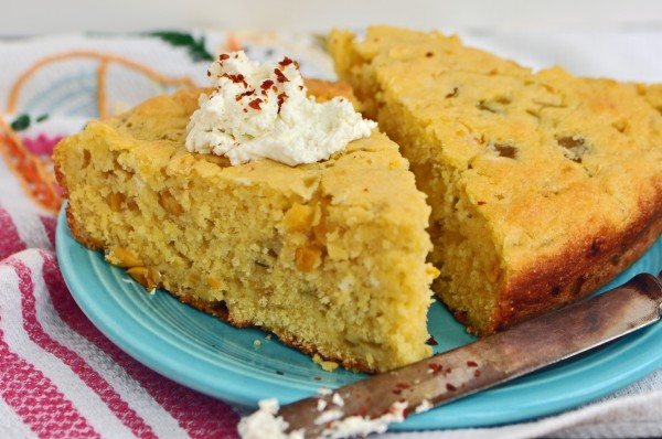 """Cornbread with Goat Cheese and Green Chiles Recipe"""