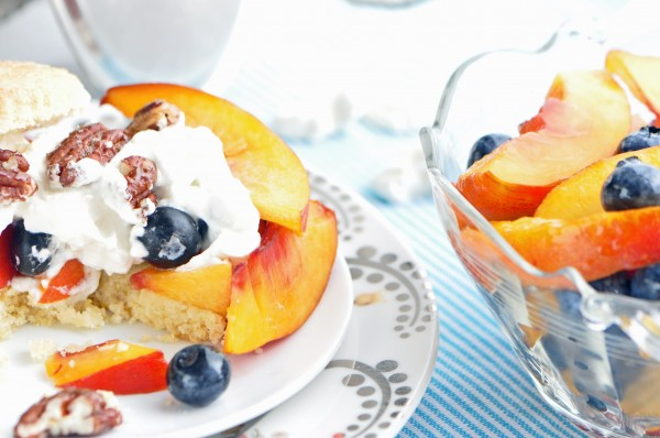 """Nectarine Blueberry Cornmeal Shortcakes Recipe"""