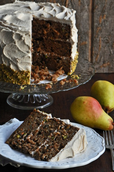 """Brown Sugar, Pear and Pistachio Cake Recipe"""