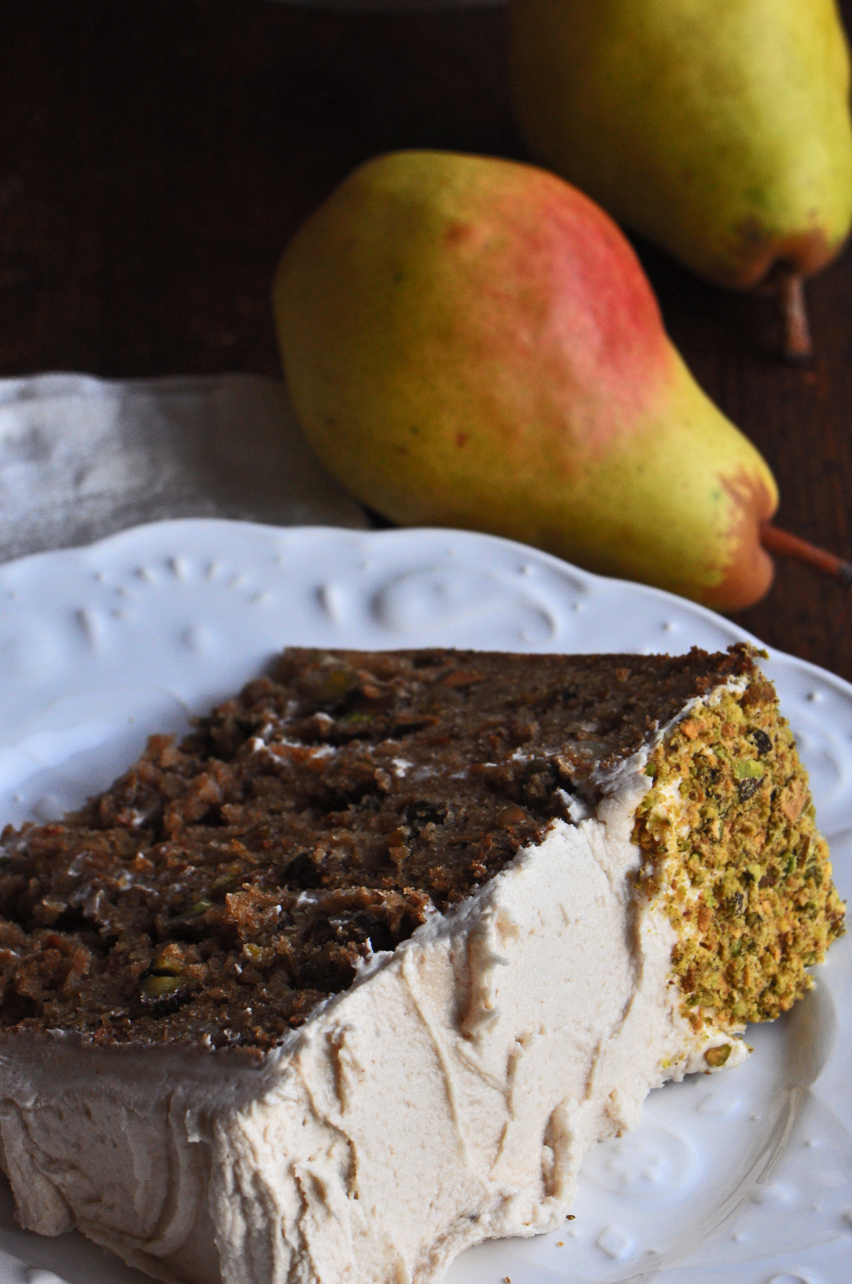Brown Sugar Pear And Pistachio Cake With Spiced