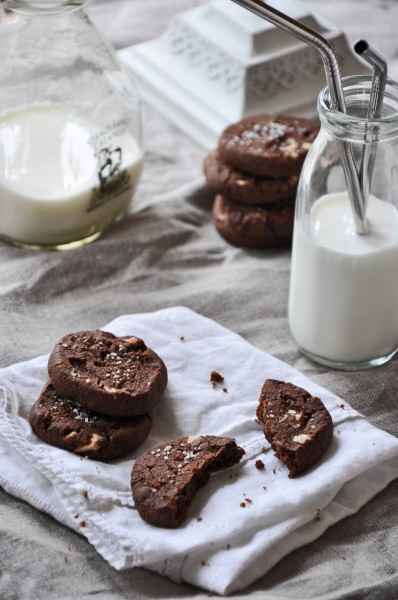 Cocoa Nib Chocolate Cookies with White Chocolate and Fleur de Sel012613003PSE