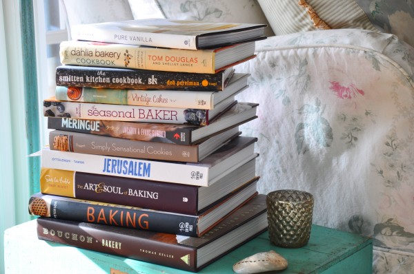 "Just a few of my ""must read"" cookbooks."