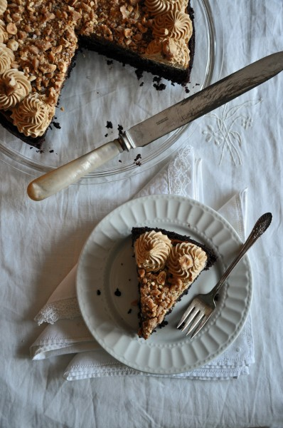 Chocolate Cake with Salty Hazelnut Brittle