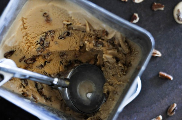 Salted Caramel Ice Cream with Honey Pecan Pralines Recipe